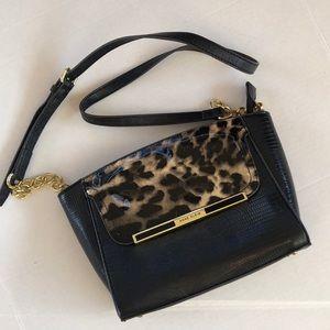 ANNE KLEIN Run Wild Leather Leopard Black Purse